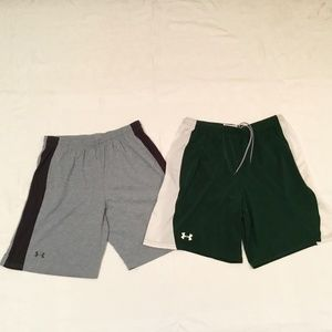 Lot of 2 Men's L Under Armour Shorts Grey / Green